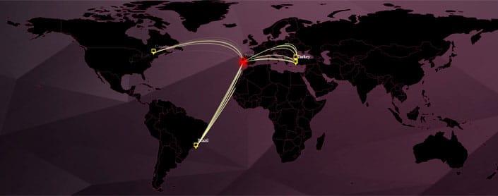 Weltkarte mit Botnetz Aktivitäten