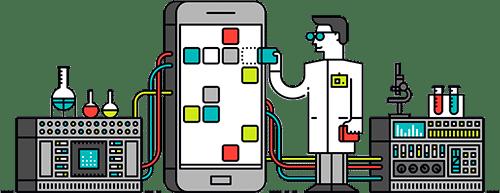 Doktor steht neben einem Smartphone und behandelt es - Illustration