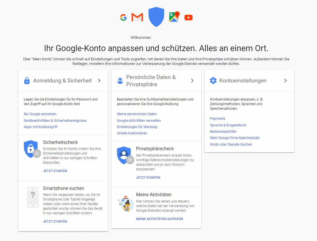 Google Menü für Einstellungen Allgemein