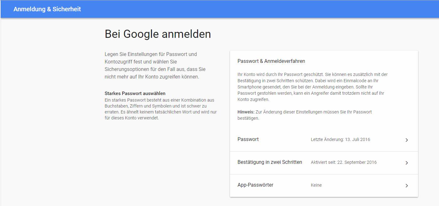 Google Menü für Anmeldung und Sicherheit