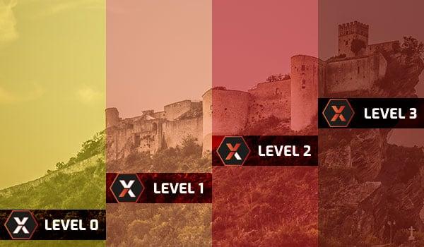 Burg in 4 Abschnitte eingeteilt farblich von Gelb zu Dunkelrot mit den Level Symbolen von ExoKrypt