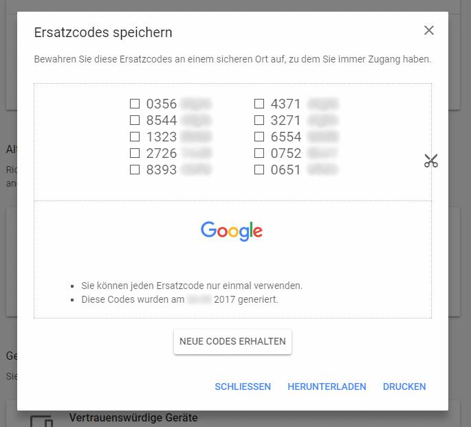 Ersatzcodes zum Einloggen in das Google Konto