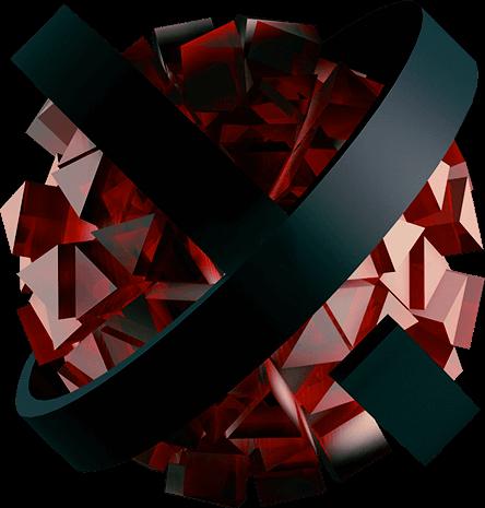 ExoKrypt Trust Sphere - Halbdurchsichtige Kugel mit erhabener Oberfläche aus Dreiecken, mit einem Gerüst außen herum