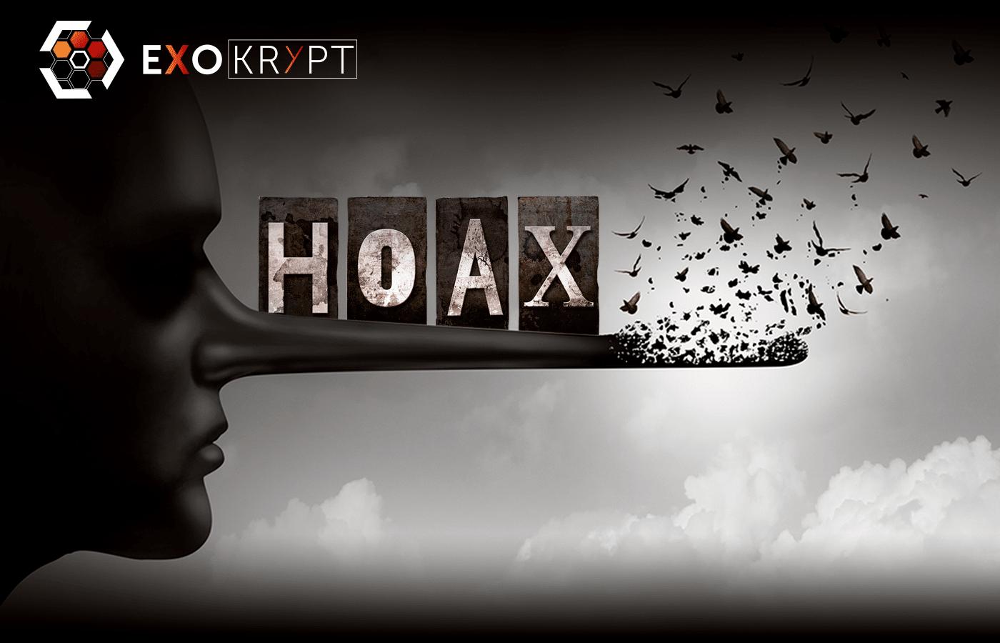 Gesicht mit sehr langer Nase auf der die Buchstaben H O A X zu lesen sind. Die Spitze der Nase verwandelt sich in Vögel die davon fliegen.