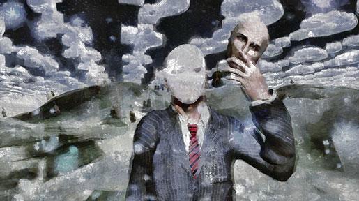 Person auf einem abstrakten Hintergrund hält sein Gesicht in der linken Hand