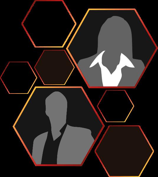 Gefüllte, Leere und Hexagone mit Silhouetten von Mann und Frau