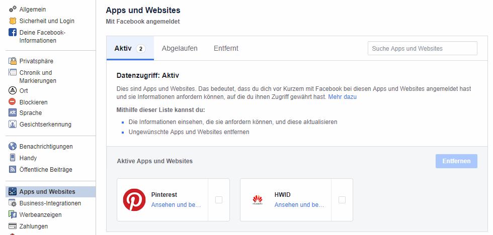 Aktive Apps im Apps und Website Menü von Facebook