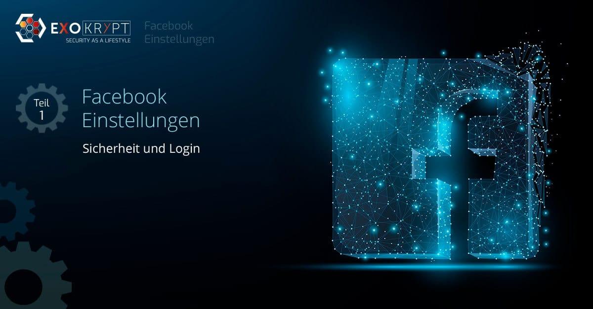 """Dunkler Hintergrund mit Facebook Logo und Beschriftung """"Facebook Einstellungen - Sicherheit und Login"""""""