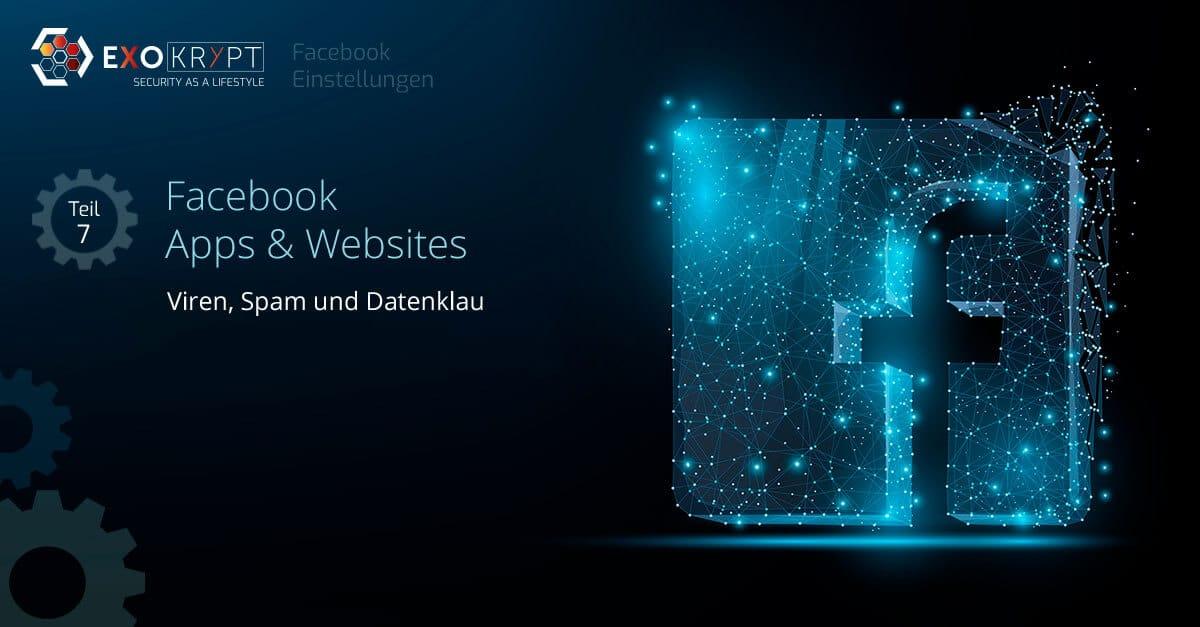 """Dunkler Hintergrund mit Facebook Logo und Beschriftung """"Facebook Apps & Websites - Viren, Spam und Datenklau"""""""