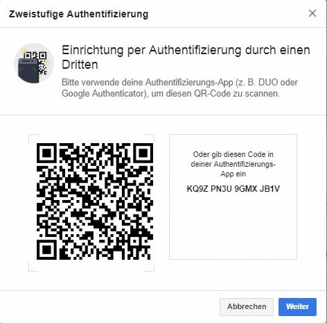 QR Code für die Verwendung von 2 Faktor Authentifizierung mit Authenticator Apps
