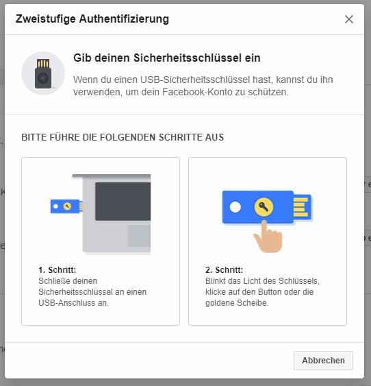 Einrichtungsmenü für Sicherheitsschlüssel mit Bildern von YubiKeys und 2 Schritte Anleitung
