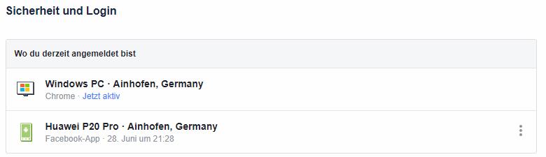 Übersicht über derzeit angemeldete Geräte bei Facebook