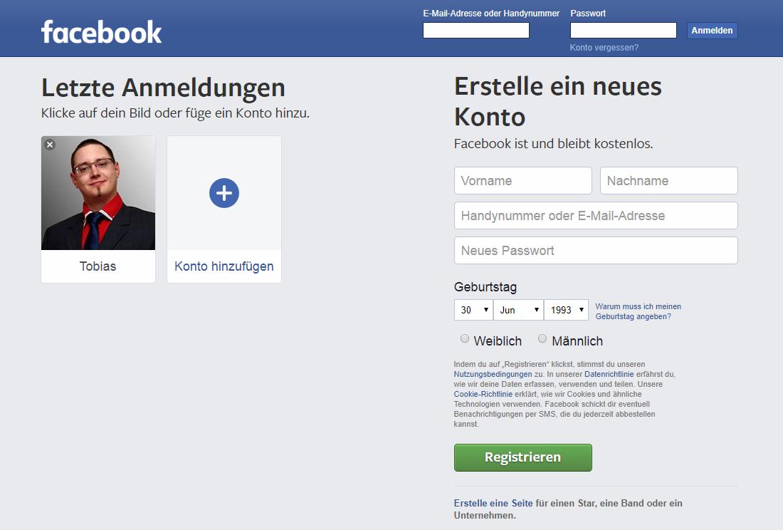Startseite von Facebook mit Anmeldungsmöglichkeiten
