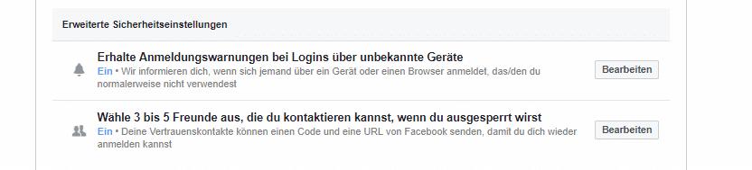 Einstellungen für erweiterte Sicherheitsbenachrichtigungen auf Facebook