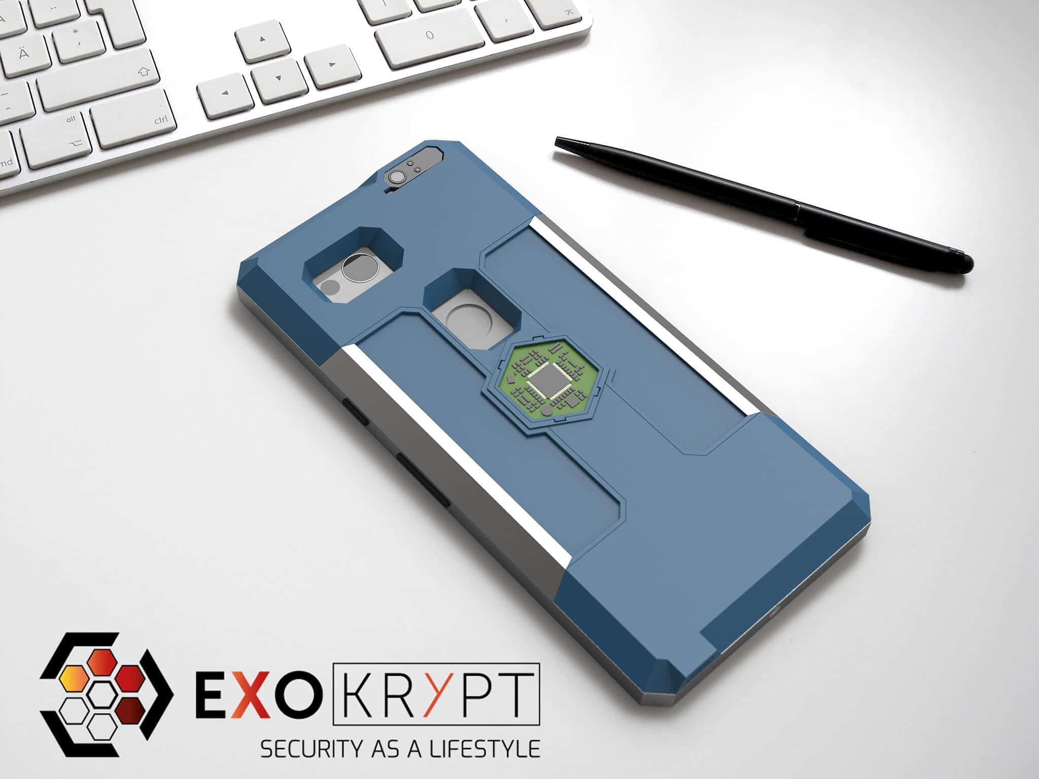 ExoShield BUSINESS Smartphone Case - Brushed Metal Frame - Blaue Inlets - Blaues Case auf einem Tisch auf einem Papierblatt liegend mit Kugelschreiber daneben, Mac Tastatur darüber