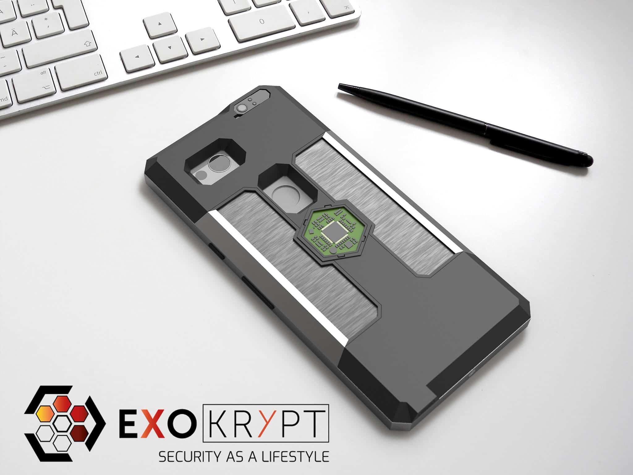 ExoShield BUSINESS Smartphone Case - Brushed Metal Frame - Brushed Alu Inlets auf einem Tisch auf einem Papierblatt liegend mit Kugelschreiber daneben, Mac Tastatur darüber