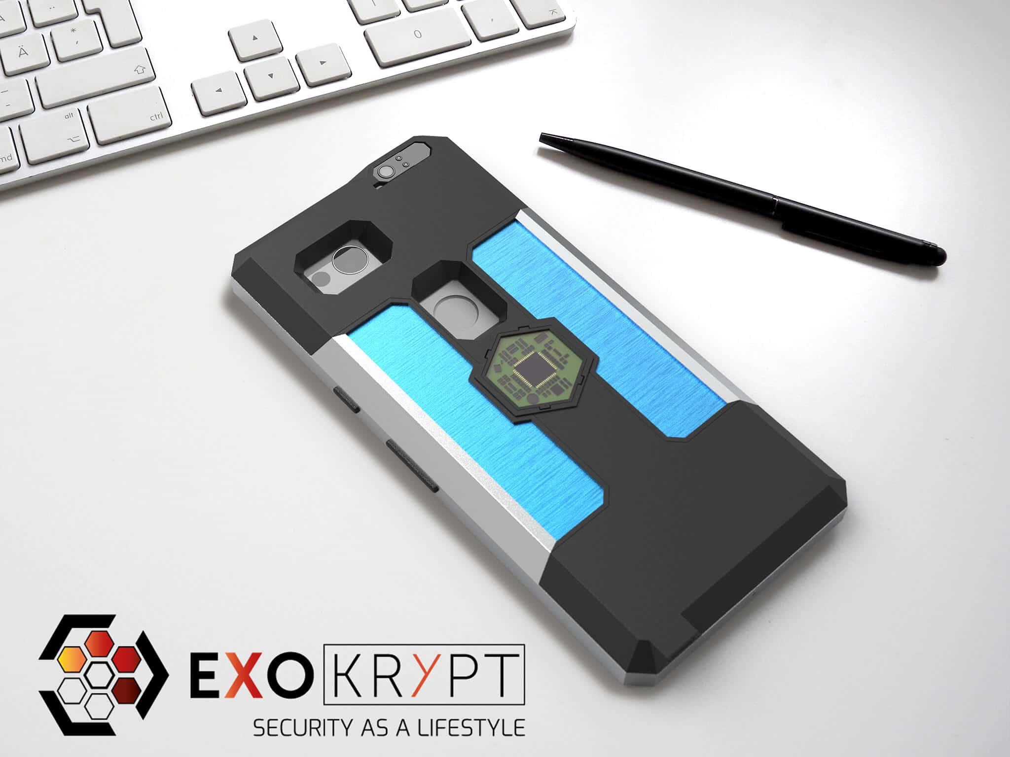 ExoShield BUSINESS Smartphone Case - Brushed Metal Frame - Türkise Alu Inlets auf einem Tisch auf einem Papierblatt liegend mit Kugelschreiber daneben, Mac Tastatur darüber