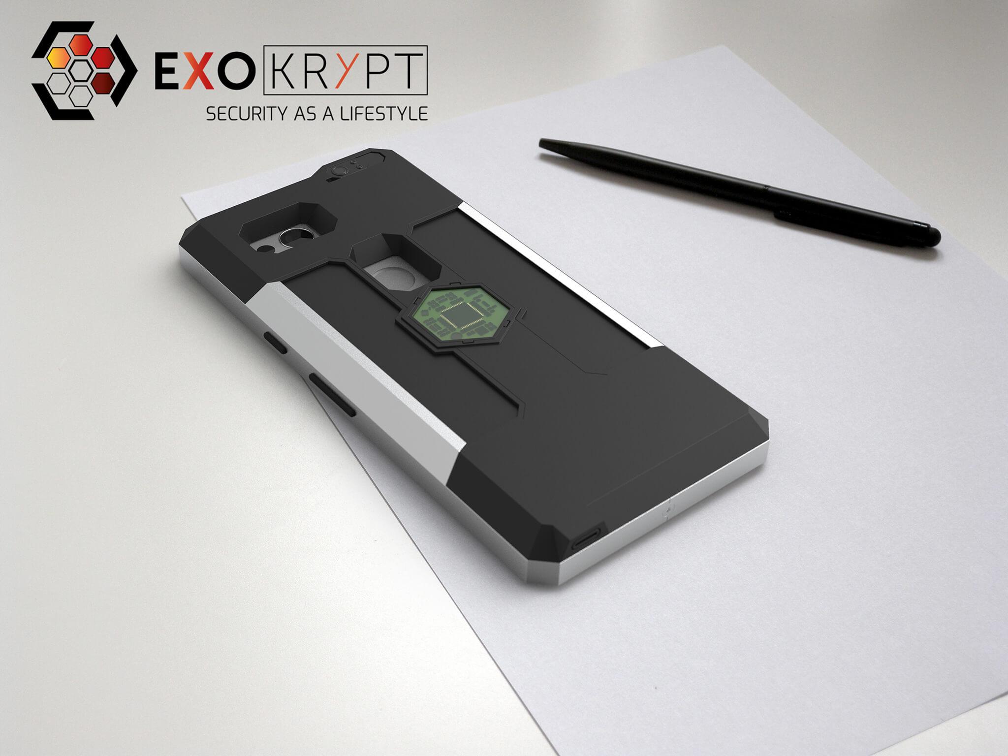 ExoShield BUSINESS Smartphone Case - Brushed Metal Frame - Schwarze Inlets auf einem Tisch auf einem Papierblatt liegend mit Kugelschreiber daneben