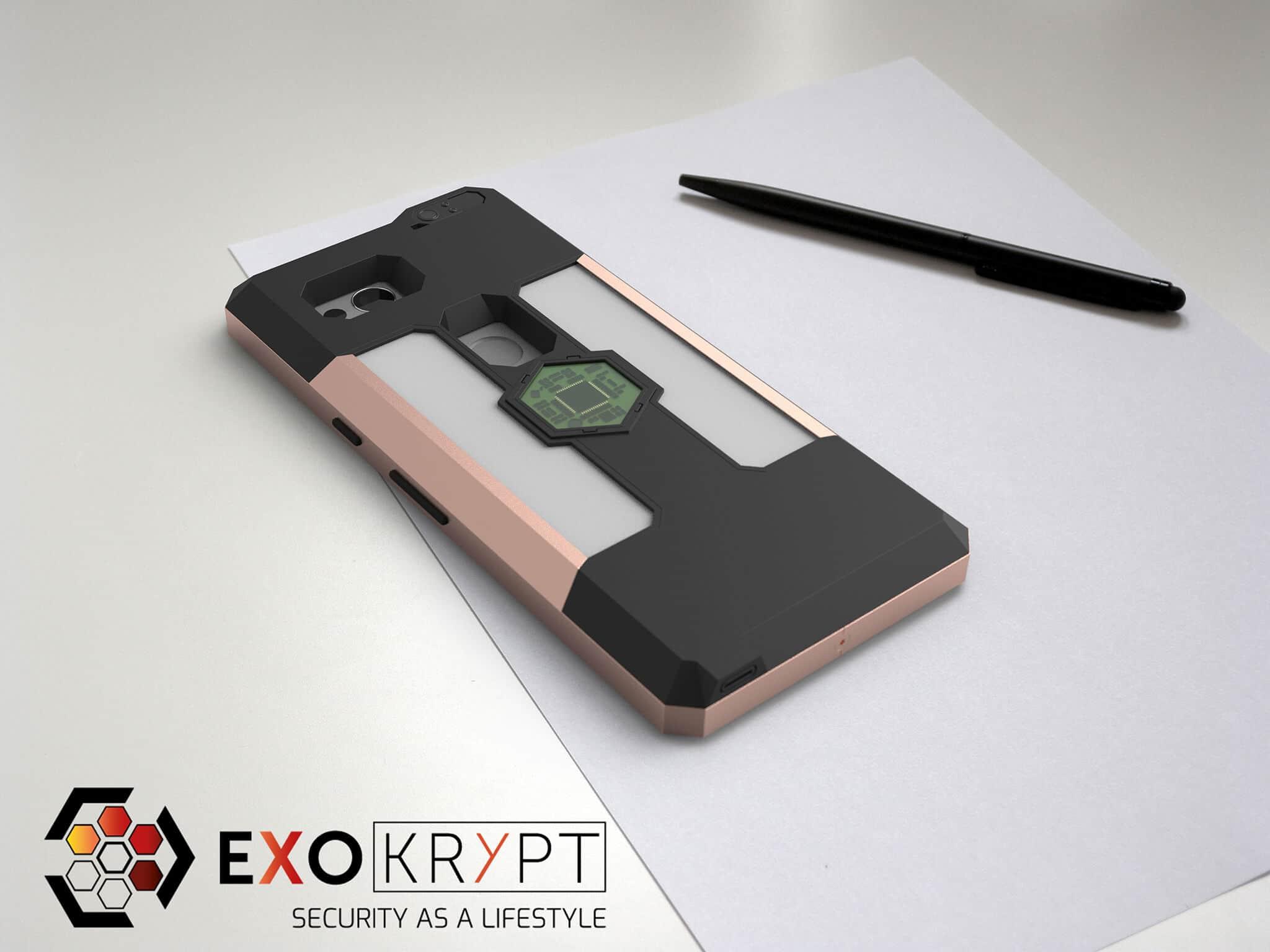 ExoShield BUSINESS Smartphone Case - Brushed Rosegold Frame - Graue Inlets auf einem Tisch auf einem Papierblatt liegend mit Kugelschreiber daneben