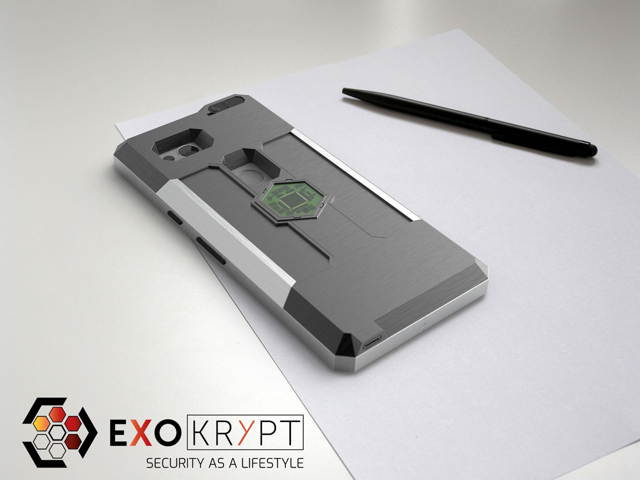 ExoShield BUSINESS Smartphone Case - Brushed Metal Frame - Graue Inlets auf einem Tisch auf einem Papierblatt liegend mit Kugelschreiber daneben