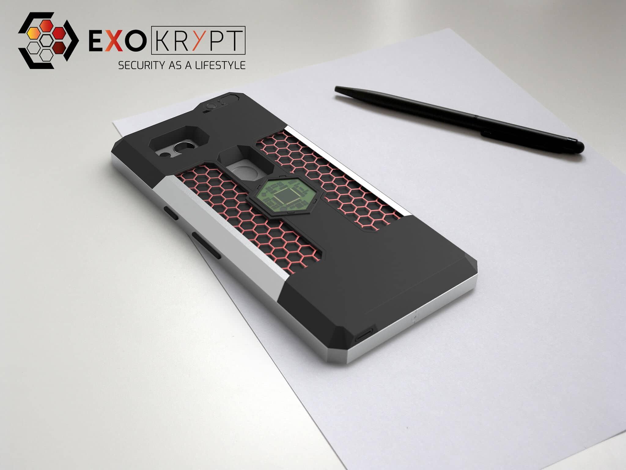 ExoShield BUSINESS Smartphone Case - Brushed Metal Frame - Hexagon Inlets auf einem Tisch auf einem Papierblatt liegend mit Kugelschreiber daneben