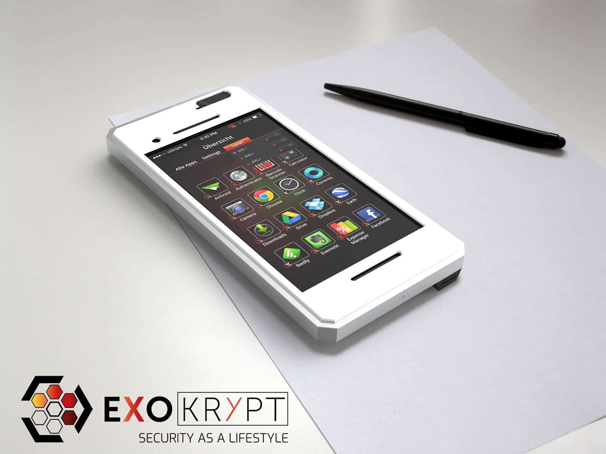 ExoShield BUSINESS Smartphone Case - Brushed Metal Frame - Weiser Displayschutz auf einem Tisch auf einem Papierblatt liegend mit Kugelschreiber daneben