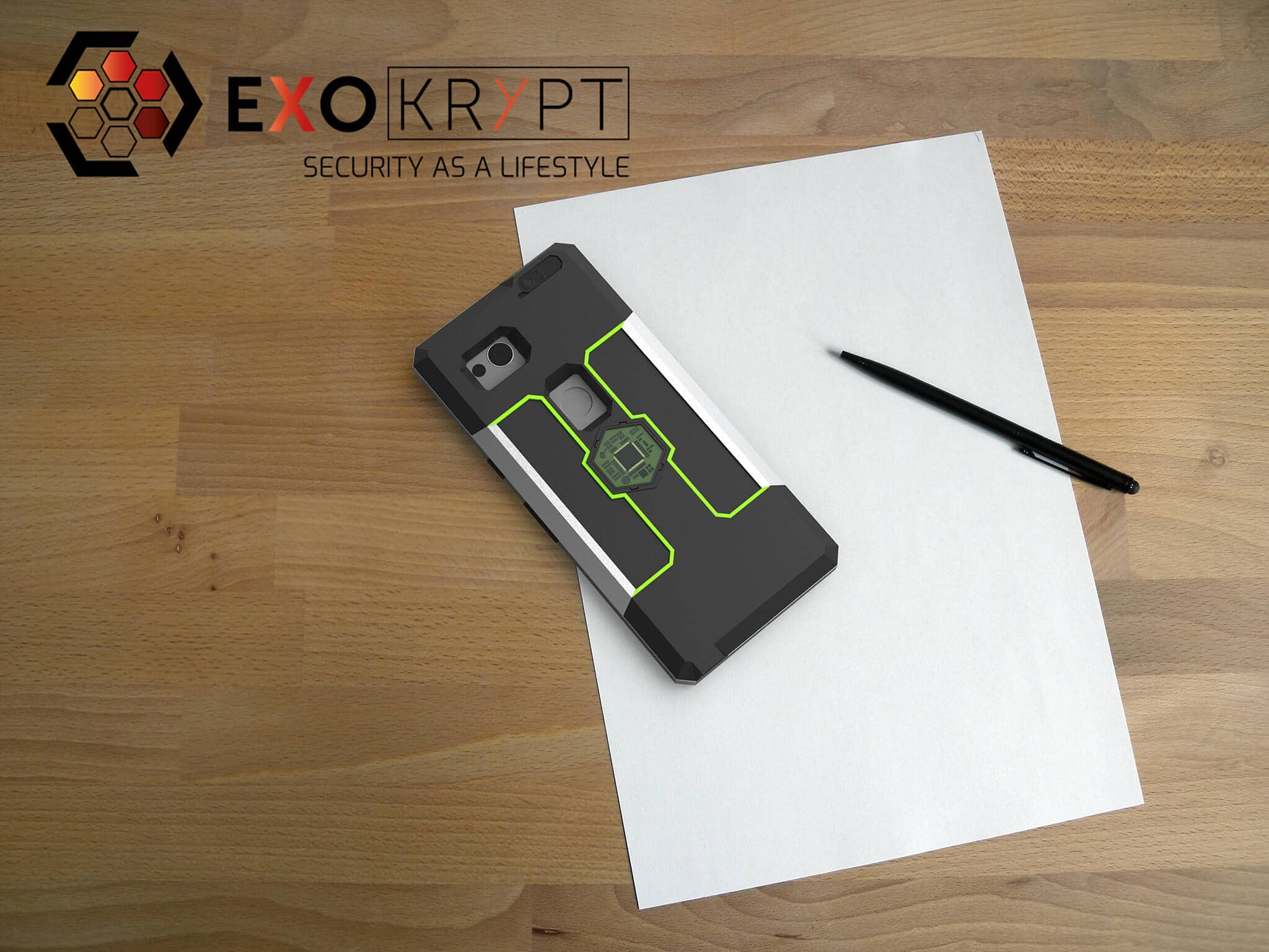 ExoShield BUSINESS Smartphone Case - Brushed Metal Frame - Schwarze Inlets - Toxic Green Inlet Frames auf einem Holztisch auf einem Papierblatt liegend mit Kugelschreiber daneben