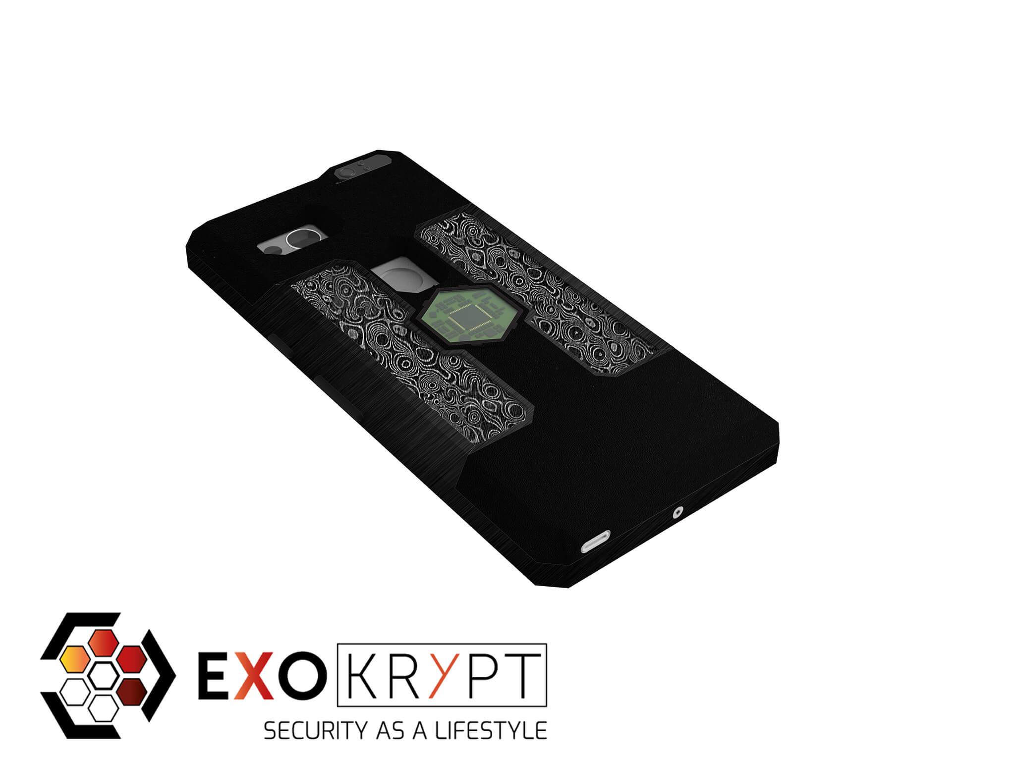 "ExoShield ""ALL-BLACK"" - Business Hülle in Schwarzem Kunststoff - Damast Inlets - Schwarzer Aluminium Frame"
