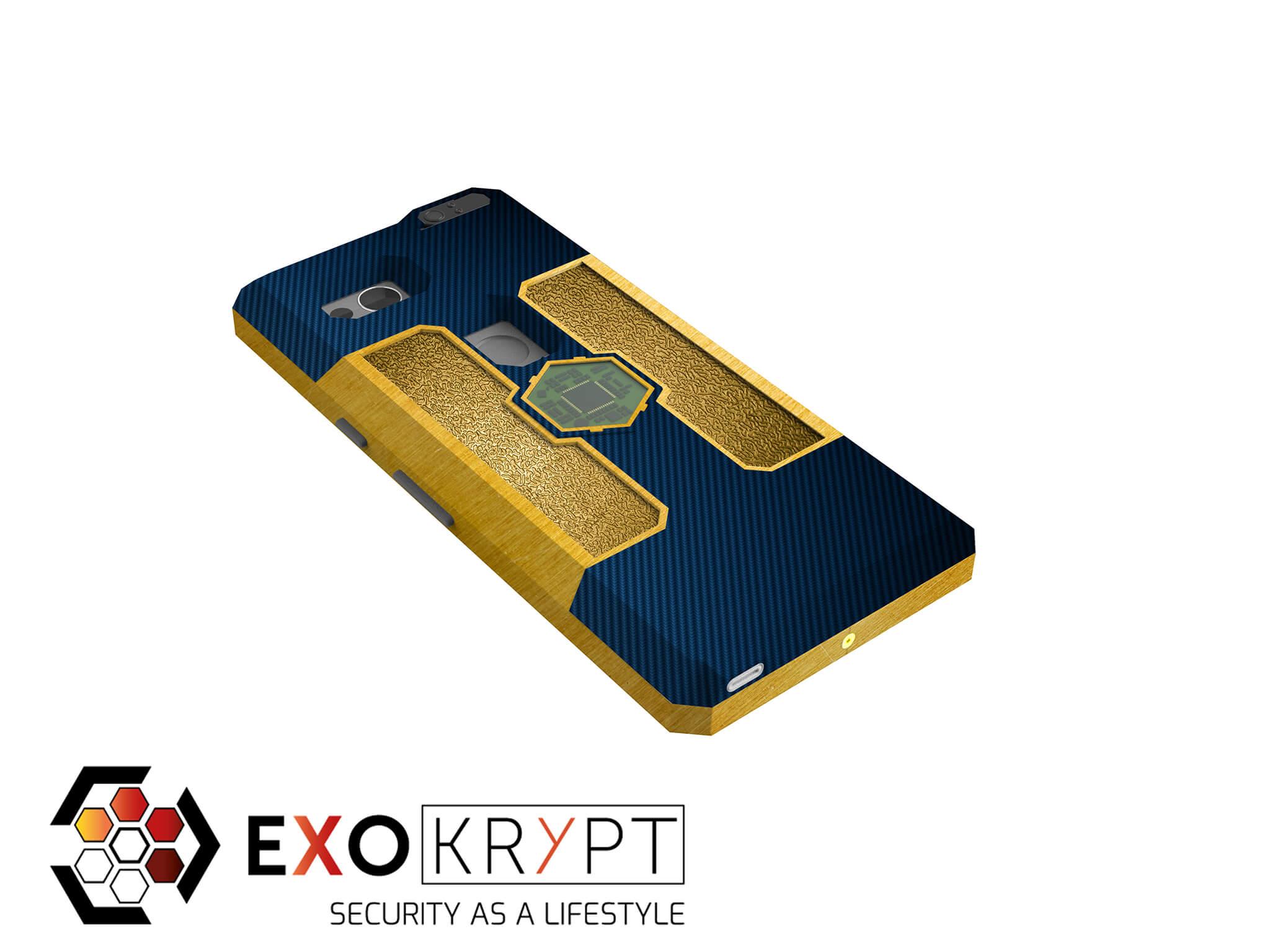 "ExoShield ""LUXURY"" - Business Hülle mit blauem Carbon - Gold Inlets - Gold Frame"