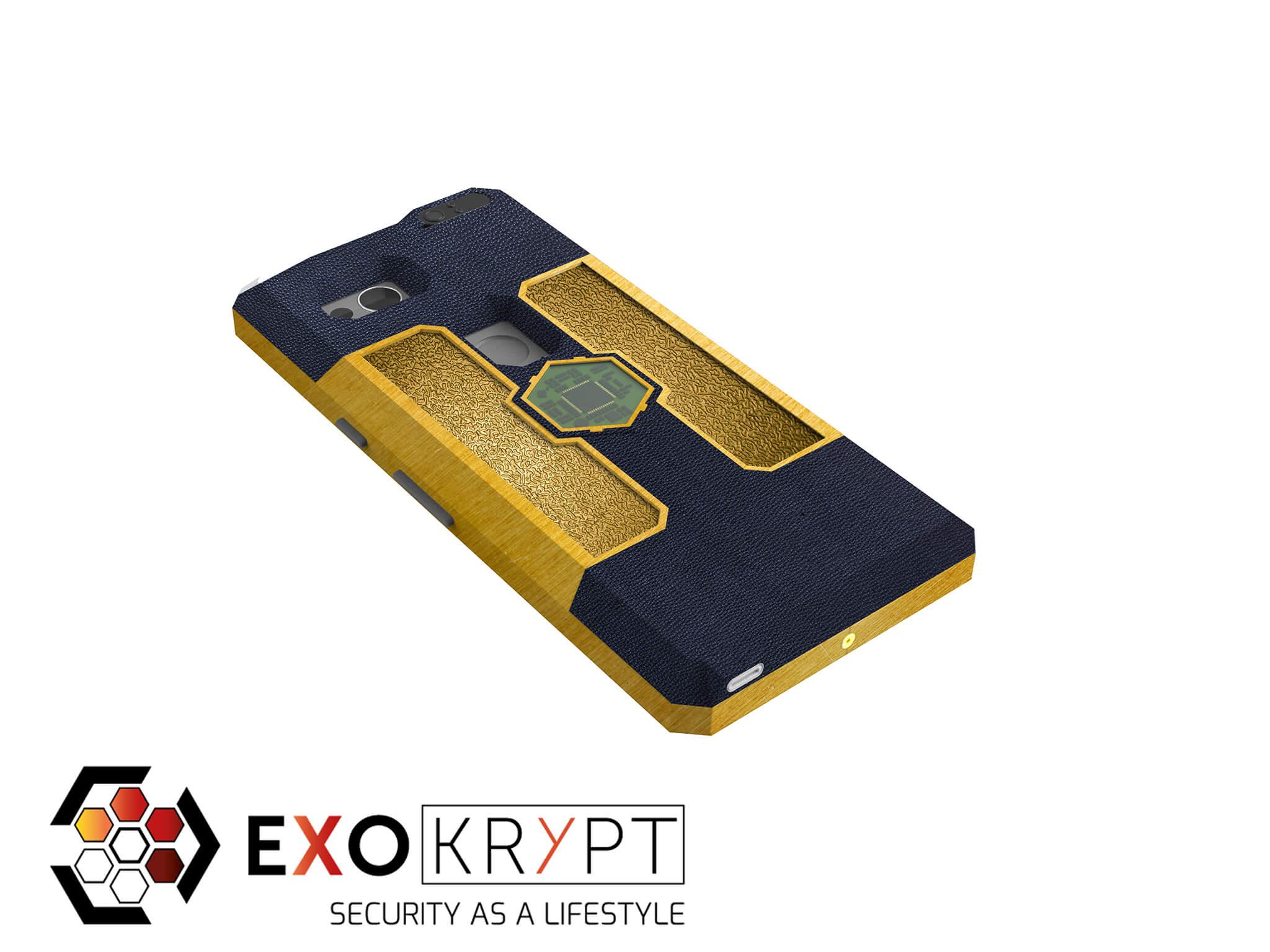 """ExoShield """"LUXURY"""" - Business Hülle mit blauem Leder - Gold Inlets - Gold Frame"""