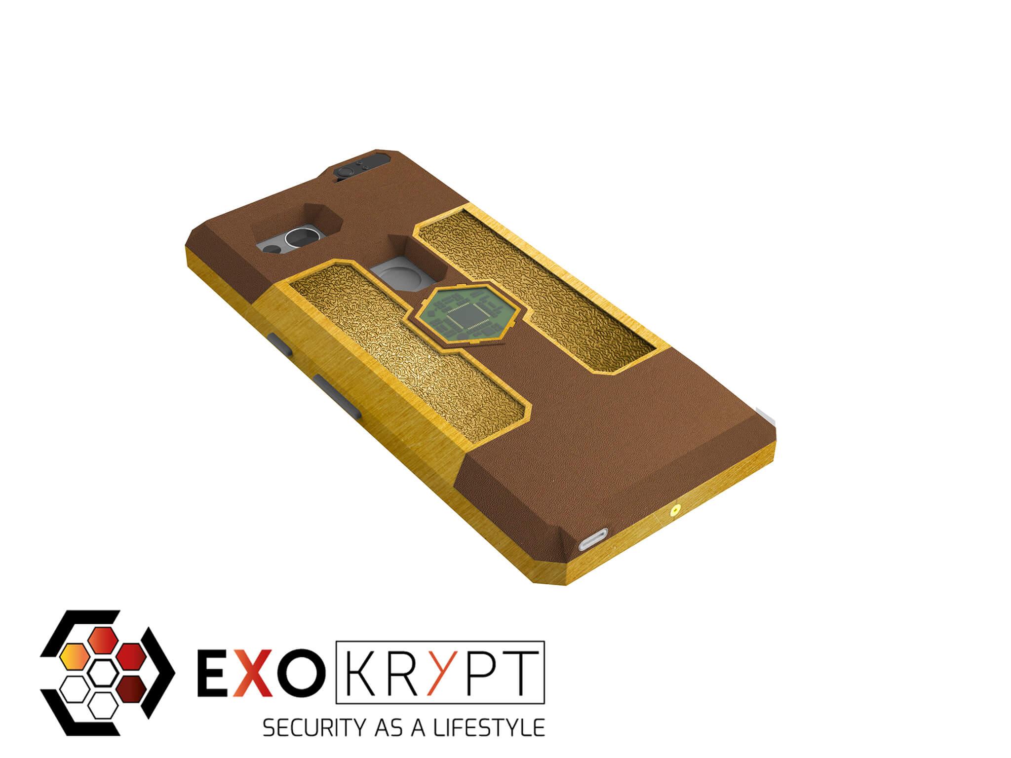 "ExoShield ""LUXURY"" - Business Hülle mit braunem Kunststoff - Gold Inlets - Gold Frame"