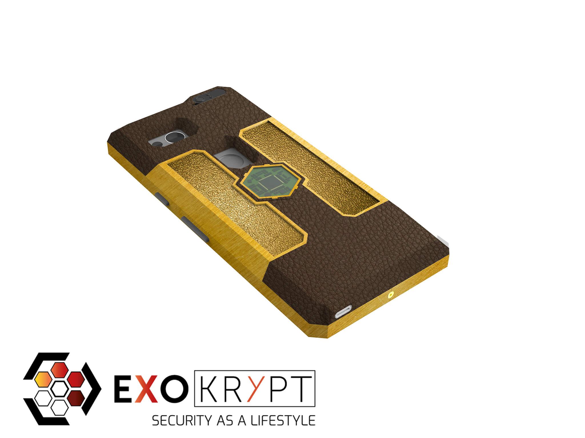 """ExoShield """"LUXURY"""" - Business Hülle mit braunem Leder - Gold Inlets - Gold Frame"""