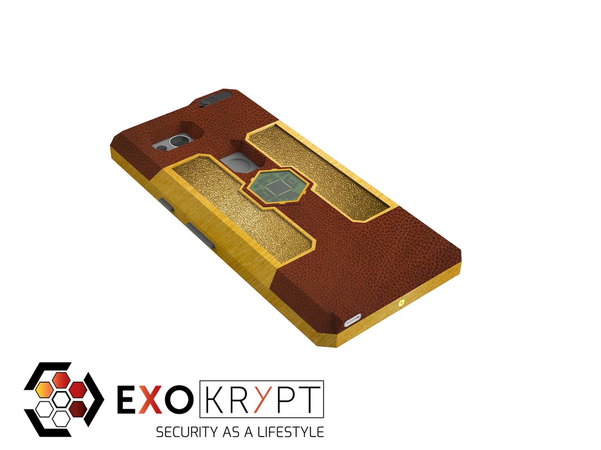 """ExoShield """"LUXURY"""" - Business Hülle mit hellbraunem Leder - Gold Inlets - Gold Frame"""