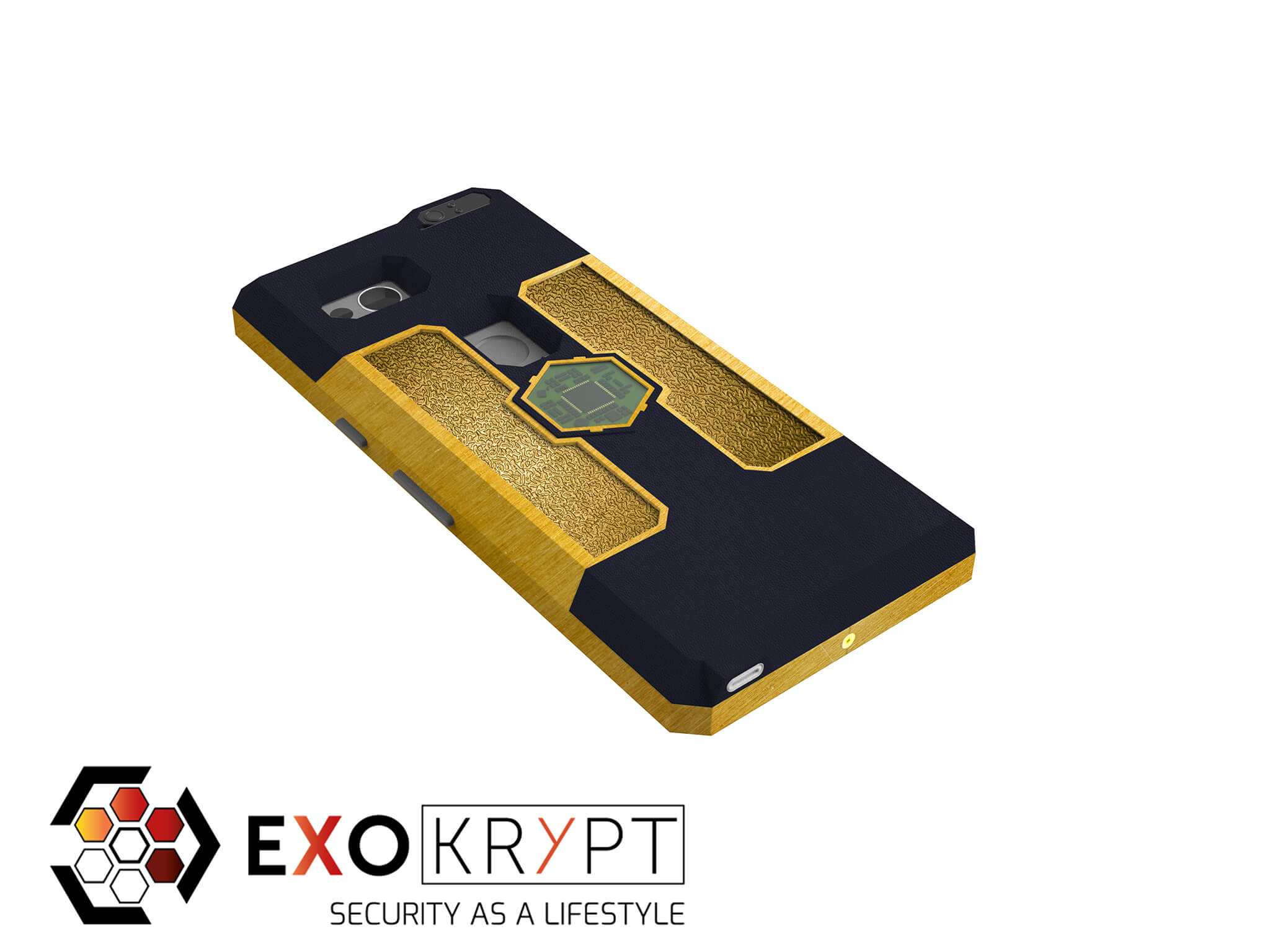 """ExoShield """"LUXURY"""" - Business Hülle mit Dunkel Blauem Kunststoff - Gold Inlets - Gold Frame"""
