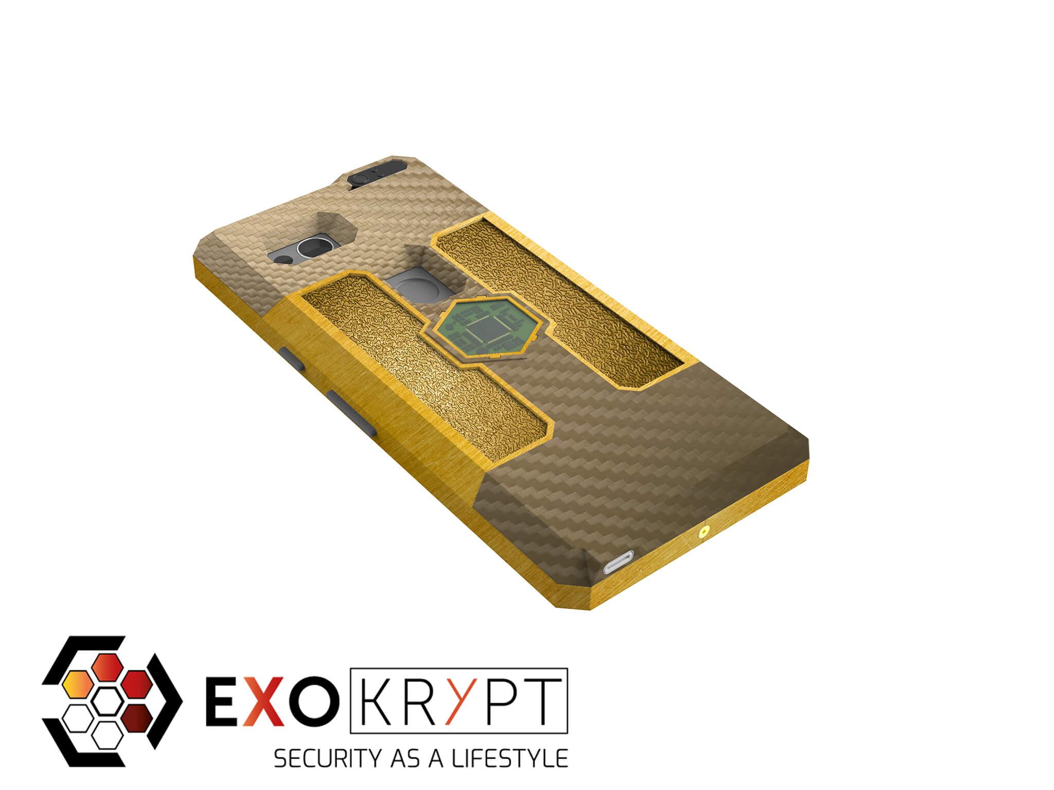 "ExoShield ""LUXURY"" - Business Hülle mit braunem Carbon - Gold Inlets - Gold Frame"