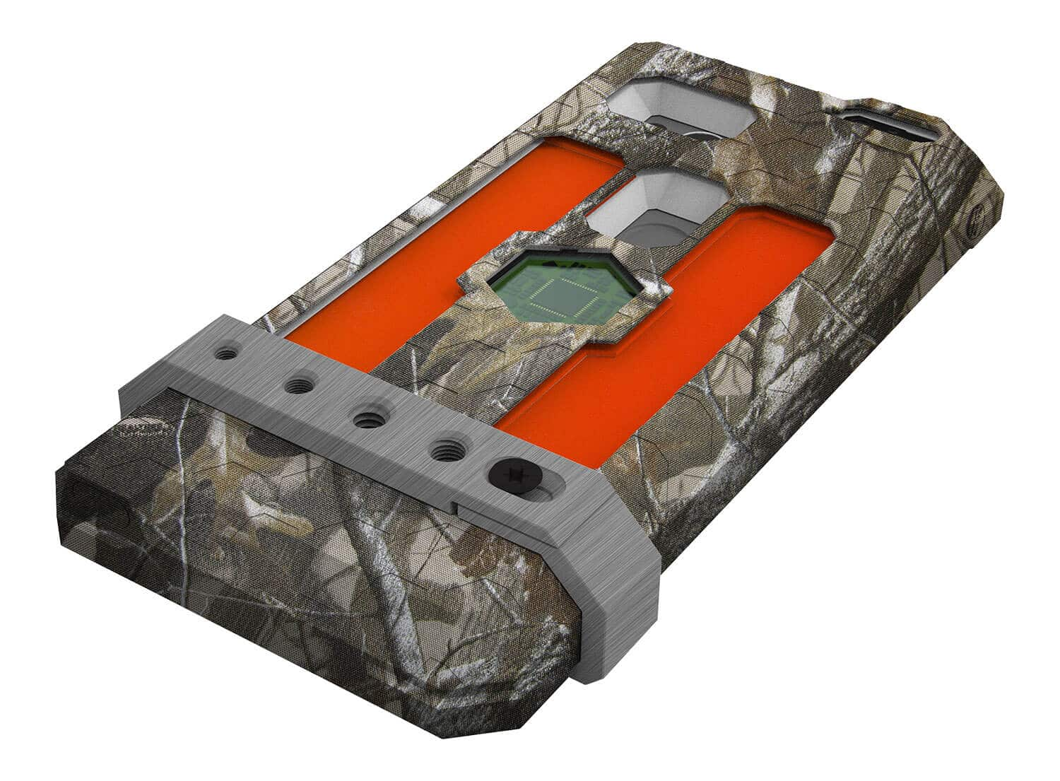 "ExoShield ""THE HUNTER"" - Outdoor Hülle in Realtree Camo - Signal Orange Inlets - Universal Mount aus Brushed Metal"