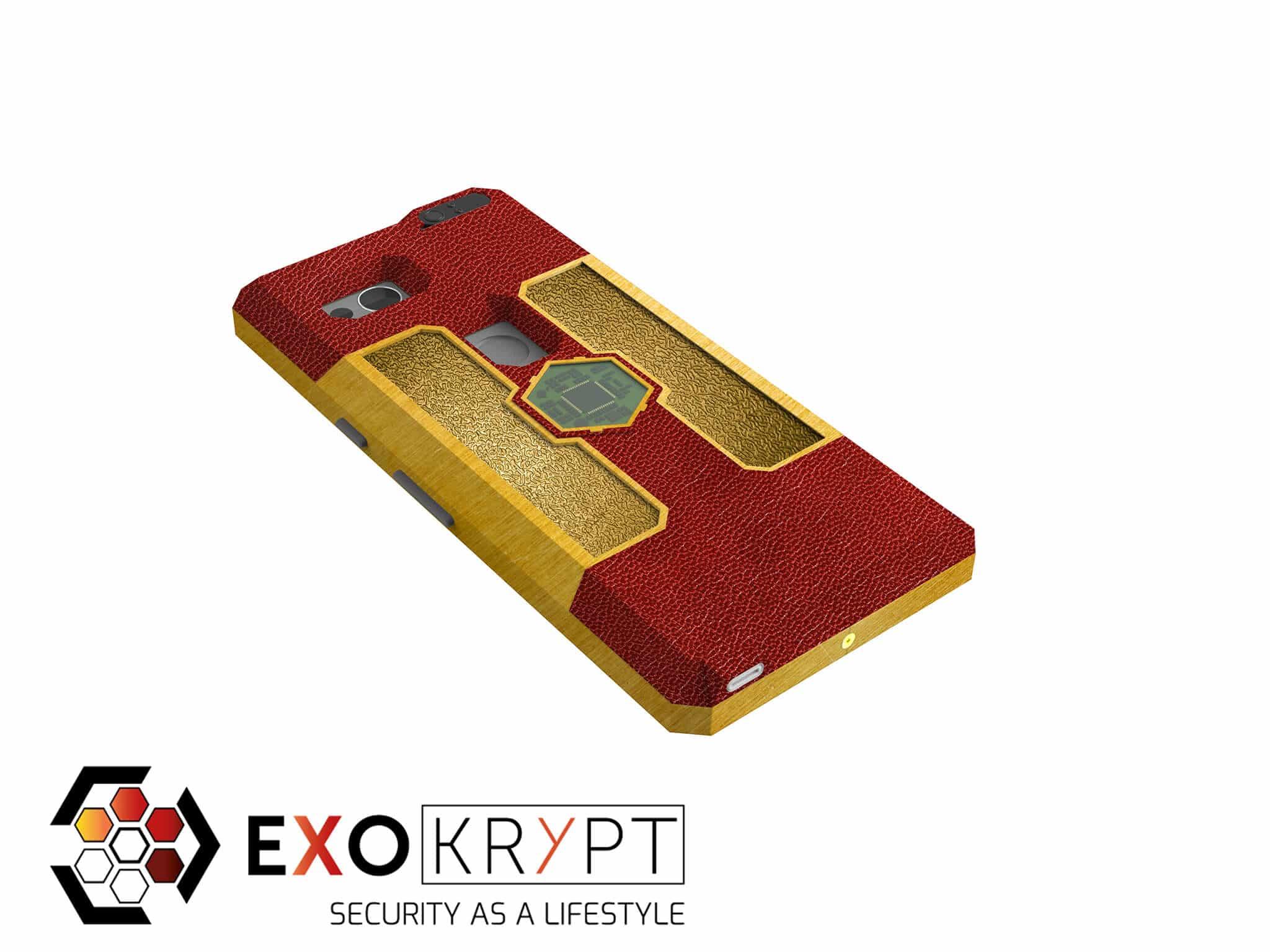 """ExoShield """"LUXURY"""" - Business Hülle mit rotem Leder - Gold Inlets - Gold Frame"""