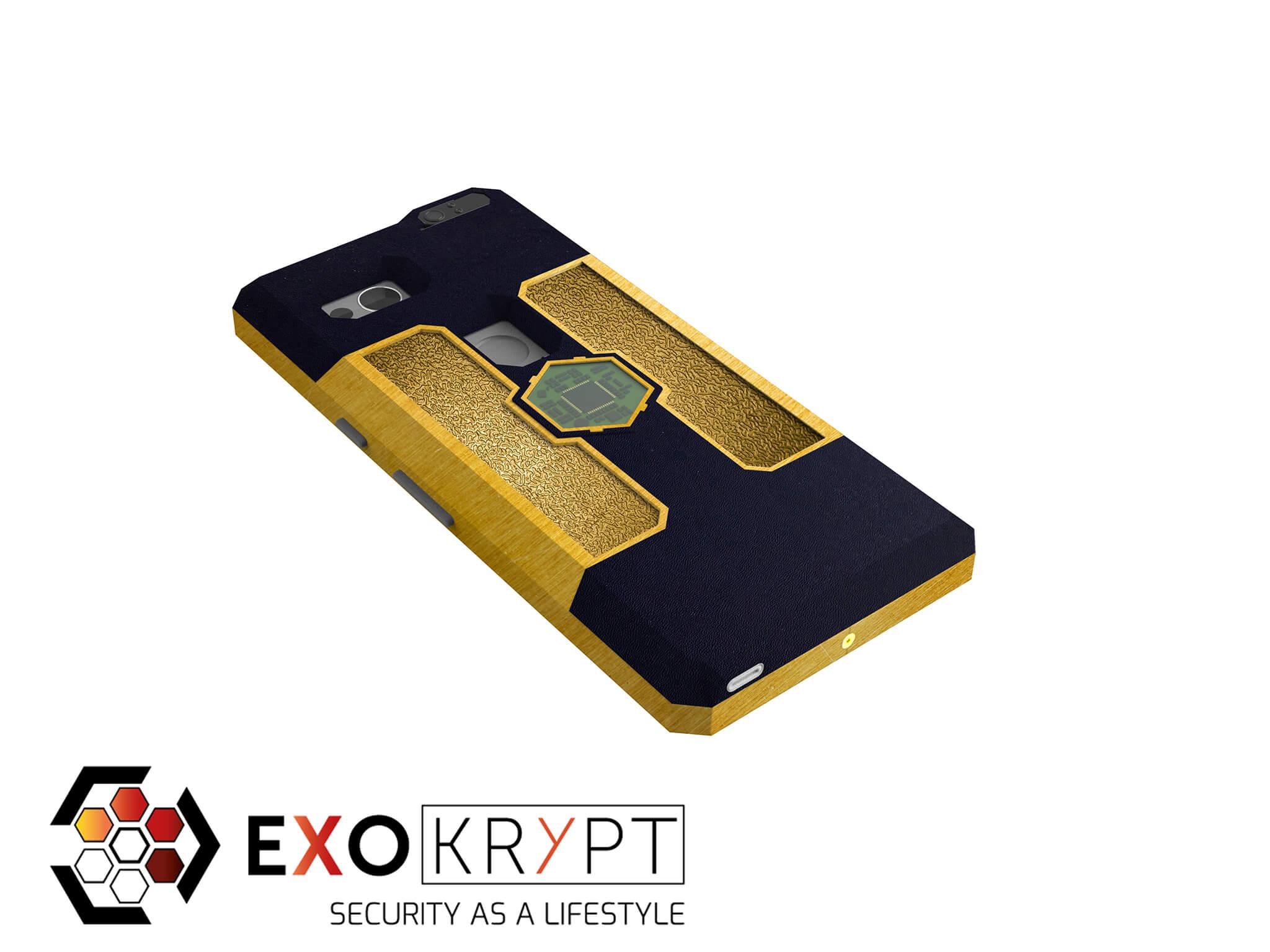 "ExoShield ""LUXURY"" - Business Hülle in Blauem Kunststoff - Gold Inlets - Gold Frame"