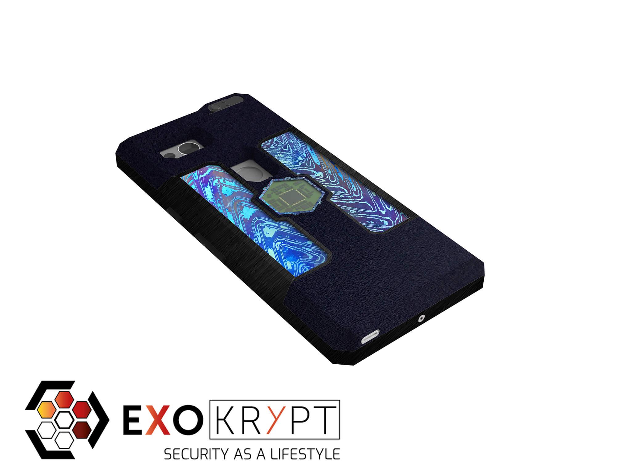 """ExoShield """"EXTRAVAGANT"""" - Business Hülle mit blauem Kunststoff - blauen Timascus Inlets - Schwarzem Aluminium Frame"""